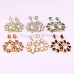 Chaude 8 Paire Cristal Pave Strass FLEUR Dangle Boucles D'oreilles Charme Bijoux Pour Femmes ? partir de fabricateur