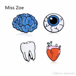 Wholesale funny heart cartoons - Cartoon Cute Organ Brain Eye Heart Tooth Metal Brooch Pins Button Pins Brooch Denim Jacket Pin Badge Funny Gift Fashion Jewelry