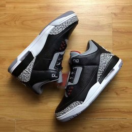 Wholesale Newest Low Cut Basketball Shoes - Air Retro 3s OG Black Cement Basketball Shoes Original Quality Authentic Sneakers 2018 Limited Release Newest Men Outdoors Sports 8-13