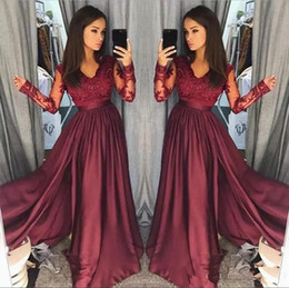 Wholesale Gold Homecoming - Burgundy V Neck Prom Dresses Long Party Evening Wear Applique Stain A Line Prom Dress Long Zipper Back Formal Party Gowns Homecoming Dress