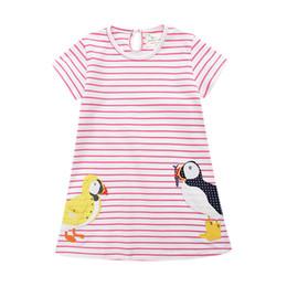 Vestido de patos online-2018 Summer Girls clothing Lovely Cotton Dresses Animal Applique pato manga corta niños ropa Imprimir al por mayor precio barato 18M-6T