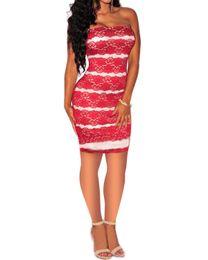 Sommer europäischen und amerikanischen Kleid Kontrastfarbe Spitze durchbrochene Kleid sexy Tube Top engen Schritt Rock von Fabrikanten