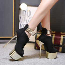 954f8bf7e0f Super Gorgeous Ankle Boots Peep Toe 2018 New Fashion Waterproof Platform  Metal Decoration Hate High 16.5CM High Heel Sandals Size 34-40