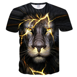 Wholesale Lions Shirt Xl - BIANYILONG Newest 3D Print Lightning lion Cool T-shirt Men Women Short Sleeve Summer Tops Tees T shirt Fashion