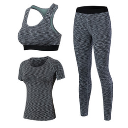 Wholesale Yoga Bra Xxl - Women 3 Pcs Quick Dry Yoga Sets Workout Tights Clothing For Fitness Sexy Top Gym Leggings Pant Sports Bra Tracksuit