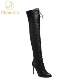 Phoentin lace up bottes en cuir avec fermeture à glissière pour dames 2018 talons hauts minces bottes 10cm overknee noir chaussures longues FT507 ? partir de fabricateur