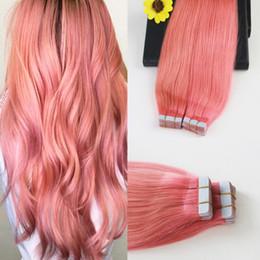 2019 cinta rosa extensiones de cabello Cinta sin costuras rosada # color en extensiones de cabello 100g 40pcs recto 14-24 pulgadas cinta adhesiva gruesa en extensiones de cabello rebajas cinta rosa extensiones de cabello