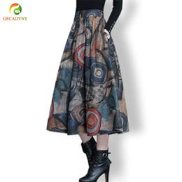 Herbst Winter Maxi Woolen Rock Frauen Retro Dicke Hohe Taille Langer Rock  Faldas Große Schaukel Falten Gedruckt Wolle Röcke Frauen M-4XL 8cddfc2e40