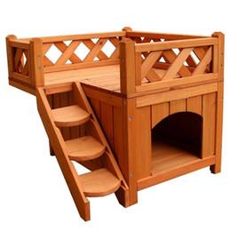 2 слоя доверия животного деревянная собака дом кот дом конуры с балконом дерево цвет крытый приют с лестницы от Поставщики древесные питомники