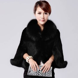 Wholesale White Mink Collar - Fur Faux Fur Coat Mink Hair Rex Rabbit Hair Cape Jacket 2015 Black White Overcoat Imitation Rabbit Faux Fox Collar XXXL