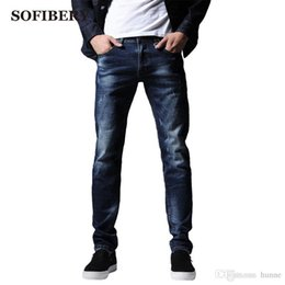 fe5a2a00b65 Wholesale-SOFIBERY New European style men s Fashion Blue Stretch Jeans Slim  Fit Pants Black Blue Size 28 33 36 Fall in prices M-7137