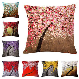 cherry blossom murals Coupons - 2018 45x45CM Cushion Cover Vintage Flower Pillow Case Mural Yellow Red Tree Wintersweet Cherry Blossom Home Decorative Throw Pillow Cover
