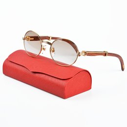 Wholesale Stainless Leg - High Quality Wood Sunglasses Clear Lens Glasses Brand Designer Sunglasses Fashion Glasses for men Luxury Metal Frames Wooden Legs With Box