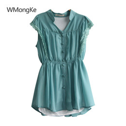 Wholesale Ladies Green Vest Tops Wholesale - WMongKe Polyester Ladies Solid Shirt V-Neck Women Pocket Blouse Vintage Chiffon Sleeveless Girl Bohemian Vest Button Up Tops