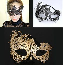 Mascaras de phoenix para adultos online-Luxurious Metal Diamond Hollow Phoenix Máscara Masquerade Adulto Princesa Media mascarilla Hombres mujeres Máscara de cristal de hierro negro plateado oro