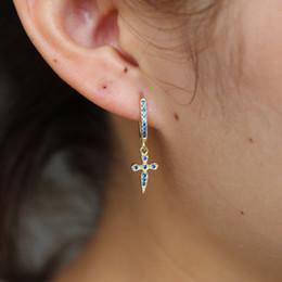 orecchini trasversali blu Sconti promessa Ciondola orecchino croce in argento sterling 925 blu rosa rosso pavé di pietre con pavé di pietra classica orecchini da donna