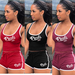 Wholesale fitness volleyball - Pink Tracksuit LOVE PINK Letter Printed Sleeveless Tank Crop Top Shorts Set Sportswear Jogger Suit Gym Fitness Clothes Plus Size Clothing
