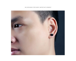 Wholesale White Gold Star Stud Earrings - Korean version of the trend of fashion personality round five-pointed star ear stud men and women titanium steel hypoallergenic earrings jew