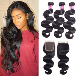 Wholesale European Wave Bulk Human Hair - Brazilian Body wave Human Hair Bundles With Closure Brazilian Human Hair With Closure Unprocessed Virgin Hair Weaves Wholesale