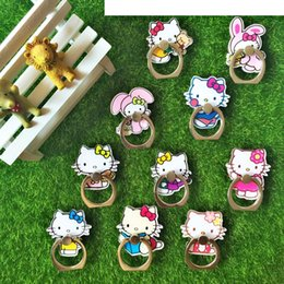 Wholesale Kitty Cell Phone - Cell Phone Mounts Mobile Holders Cute Hello Kitty Fashion Finger Ring Mix Style Kickstand with Safe Secure Grip