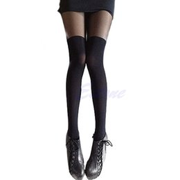 Wholesale Mock Knee High Tights - Sexy Girl's Pantyhose Design Pattern lady Solid high Stockings Women mock high Over The Knee Ribbed Tights Drop ship