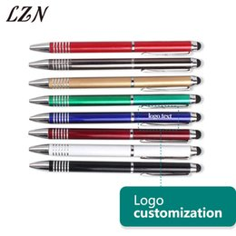 Penne di stampa a schermo online-LZN Calda penna del metallo del touch screen utile per il telefono IPad penna a sfera Affari Stampa laser gratuita Nome / logo / testo per cliente speciale