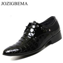 JOZIGBEMA New Men Dress Shoes European Fashion Style Man Full Grain Leather  Shoes Social Sapato Male Lace-Up Oxfords Flats 4467d65d9619