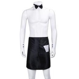 disfraces masculinos de fantasia Rebajas Sexy Hombre Backless Bow Tie Collar Puños Delantales Stripper Set Butler Waiter Fantasy Cosplay Disfraz Dress Up Valentines Outfit