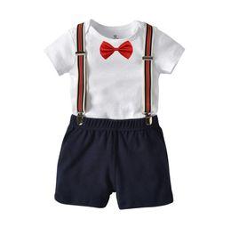 Vestiti bianchi per i bambini online-Baby kids 3 pezzi set Gentleman Suit Kids boy White Tshirt Abbigliamento per bambini Set 5 colori
