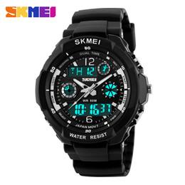 2019 reloj skmei dual Skmei moda niños relojes deportivos LED de doble pantalla reloj de pulsera de cuarzo digital niñas niños 50 m impermeable reloj de luz trasera reloj skmei dual baratos