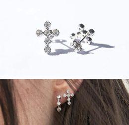 brincos de prata esterlina Desconto Cz cruz brinco para mulheres clássico design moderno simples 925 sterling silver criss cross mulheres jóias