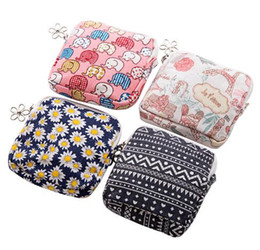 Wholesale wall towel storage - Free Shipping Cute Cartoon Sanitary Napkin Bag Purse Holder Organizer Storage Bags with Zipper Traveling Travel Napkins Towel Pouch Pad Hold