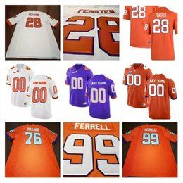 Wholesale Footballs Johnson - NCAA Clemson Tigers #15 Hunter Johnson 28 Tavien Feaster 27 C.J. Fuller Jr. Orange Purple White Stitched College Football Jerseys S-3XL