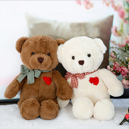 Wholesale Teddy Bear Girl Boy - 20161107 35cm Belle Bear Plush Toys PP Cutton Brown And White Cute Boys And Girls Birthday Gift