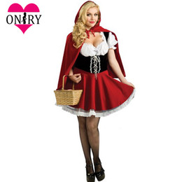 Halloween Cosplay Plus Size Sexy per adulti Little Red Riding Hood Costume donne Costumi vestito operato per giochi di ruolo Outfit da