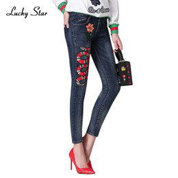 light snakes Coupons - Women's Snakes and flowers embroidery Jeans Fashion Women's Jeans Slim Pencil Pants Female Full Length Trousers A262