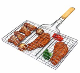 Wholesale Roasted Meats - Summer Outdoor Barbecue Tools Grilled Fish Clip Roast Meat Hamburger Net Environment Barbecue with Wood Crank Outdoor Gadgets GGA288