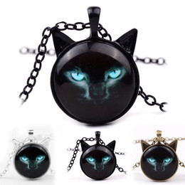 Wholesale Glasses Ear - 2018 New Black Cat Glass Cabochon Necklace Silver Bronze Cat Ear Frame Pendants Fashion Jewlery Gifts for Women Kids 162597
