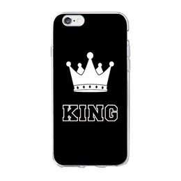 Wholesale Couples Iphone - Couple KING Queen Crown Phone Case For IPhone Samsung Soft TPU Cover Cases For iPhone X 6S 7 8 Plus 5 5s SE