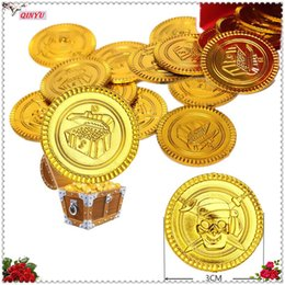Wholesale children pirate party - 50PCS Plastic Gold Coins Children Favorite Toys Pirate Treasures Gold Coins Props Game Currency Toy Party Supplies 6ZHH204