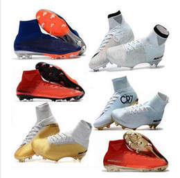 Wholesale kids winter boots boys - 2018 mens soccer cleats Mercurial Superfly V Ronalro FG indoor soccer shoes kids football boots cr7 boys neymar boots Rising Fast Pack cheap