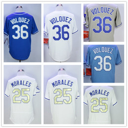 Wholesale Baby Base - Kansas City 25 Kendrys Morales 36 Edinson Volquez Men Baseball Jersey Cream White Grey Baby Blue Cool Base Stitched Home Away