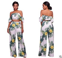 Wholesale Fresh Piece - Summer women clothes suit Plant print fresh ins holiday style leisure Lantern sleeve two-piece ladies clothing Sexy Exposed Waist Tops Wide