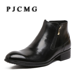 2019 botas de madeira PJCMG Novos Homens Vintage Brogues Couro Genuíno de Madeira Zip Impermeável Ao Ar Livre de Alta-top Ferramental Tornozelo Botas de Vestido Sapatos botas de madeira barato
