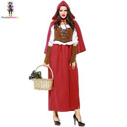 Американская атлетика онлайн-Хэллоуин взрослые женщины Маленький красный костюм с капюшоном плюс размер XL XXL Европейский / американский ренессансный бродвейский этап Показать костюмы