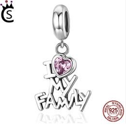 Wholesale pandora i love charm - Pandora 925 Sterling Silver Charm I Love My Family Heart Dangle Charms fit Women Charm Bracelets Jewelry Family Gift