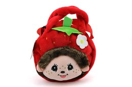Wholesale Wholesale Small Black Dolls - lovely monchhichi monchichi plush doll stuffed one shoulder backpack monchhichi kindergarten small bag fruit serious 19x20cm