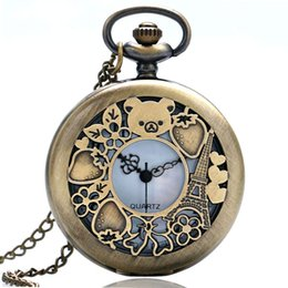 Wholesale Lovely Bear Stainless Steel - Fashion Bronze Hollow Lovely Cub Bear Quartz Pocket Watch Steampunk Pendant Necklace For Kids Girls Clock Women Men Watches