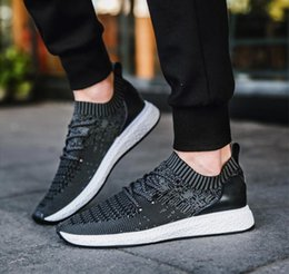 Wholesale Ventilated Running Shoes - Men's popular air - ventilated south Korean casual shoes fly - weave net shoes, comfortable shoes outdoor running men's shoes.