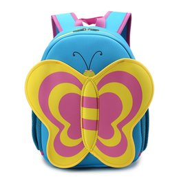 Wholesale Neoprene Bags Children - Wholesale-Factory Cartoon Butterfly Waterproof Neoprene Children Baby Girls Mini Bags kids Animal School Backpacks Kindergarten School Bag